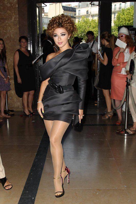 2017 Myriam Fares Arabic Celebrity Dresses Sheath One-shoulder Black Short Mini Organza Short Red Carpet Dresses