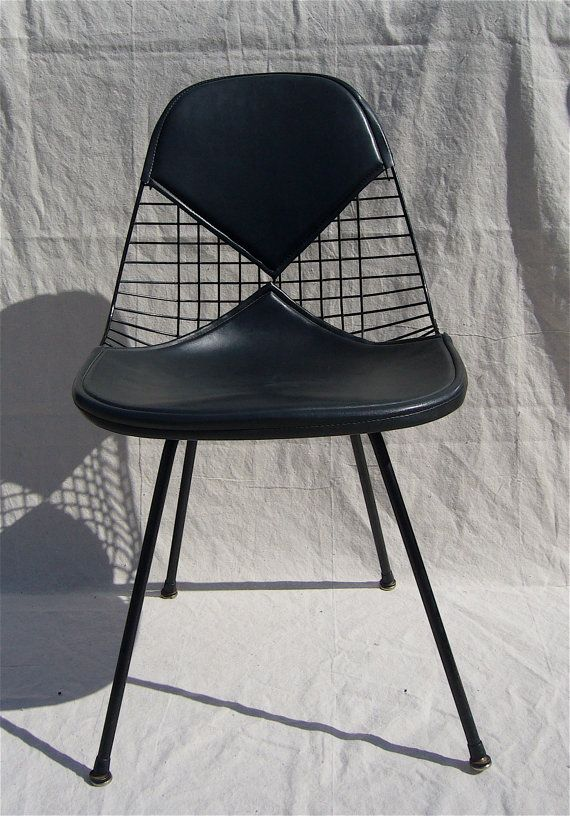 2 Eames Herman Miller DKX Black Bikini Wire Chair Mid Mod