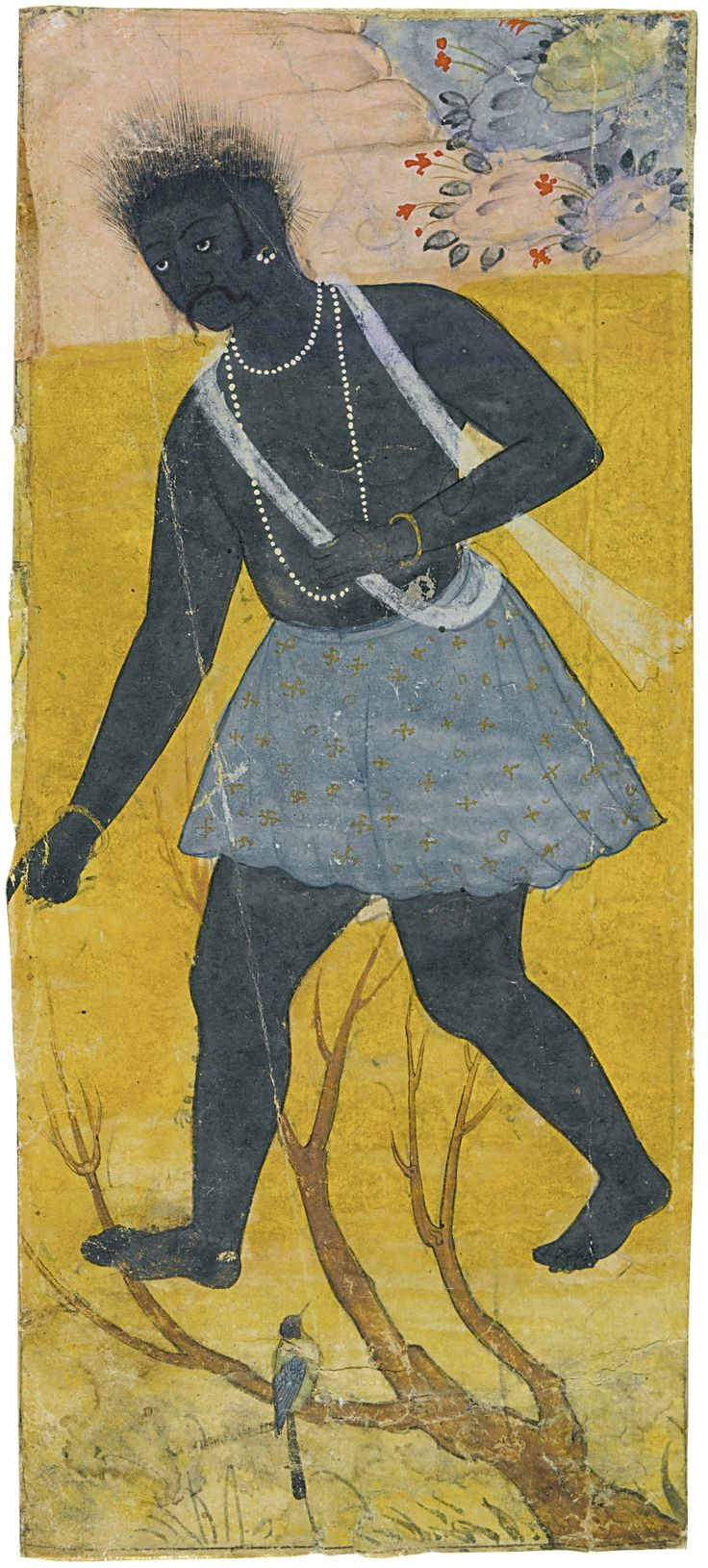 A BLACK DEMON, A FRAGMENT FROM THE RAZMNAMA MADE FOR ABD AL-RAHIM KHAN-KHANAN, MUGHAL, 1616-17 gouache with gold on paper, a fragment from a manuscript page 14.6 by 6.5cm
