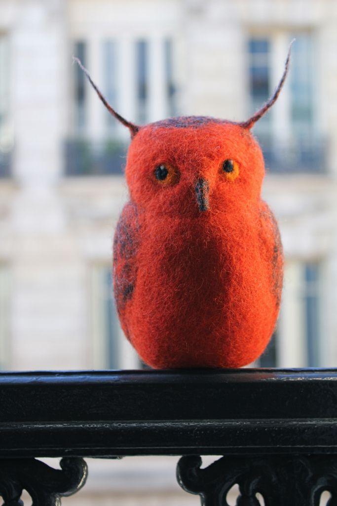 felted orange owl