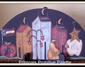 Primitive Wood Door Crown Saltbox House Sheep Flag Pear Star Country Home Decor Handpainted Decoration