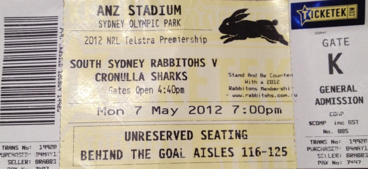 Rugby League, 2012, Rabbitohs vs Sharks, Sydney
