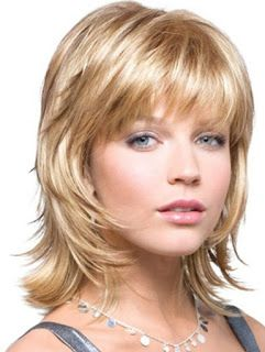 The Shag is a heavily tiered fringe cut with shorter top coat and works on all hair lengths and textures: long and short.