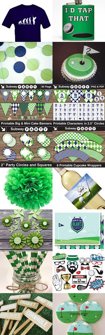 Green & Navy Blue Golf Party for Father's Day. Everything you'll need to decorate a Golf Theme Party! #partyprintables, #golfparty, #father'sday
