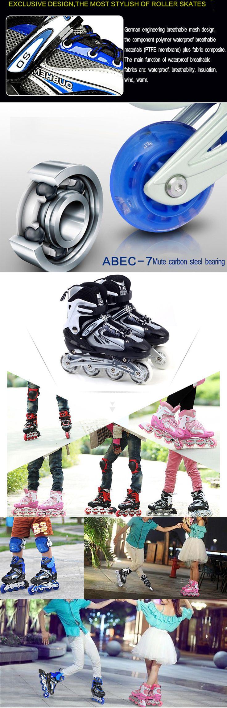 Design t shirt rollerblade - Unisex Adjustable Four Flashing Wheels Skates Shoes Wear Resisting Rollerblade