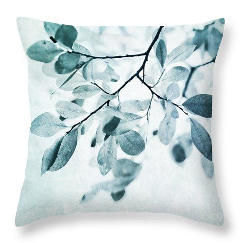Foliage Throw Pillow featuring the photograph Leaves In Dusty Blue by Priska Wettstein, Printing photos on pillows for 27 and $32
