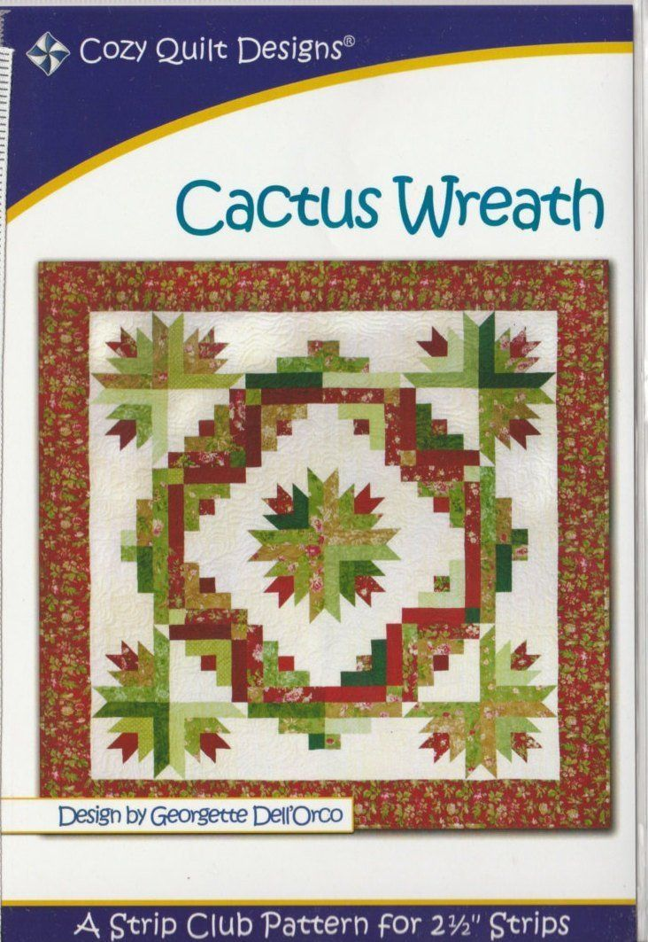 Cactus Wreath – Pattern – Cozy Quilt Designs – by Georgette Dell'Orco