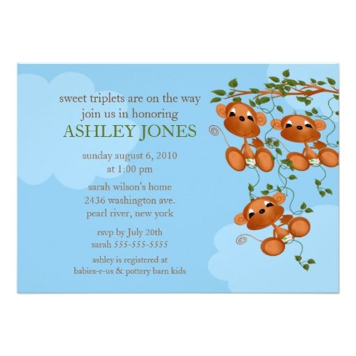 793 best triplets baby shower invitations images on pinterest sweet triplets baby monkey baby shower custom announcement filmwisefo