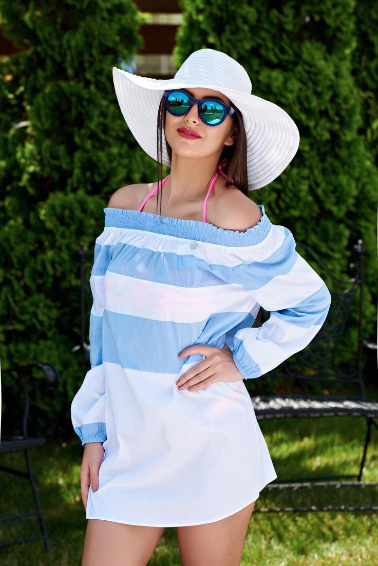 Rochie PrettyGirl De Plaja Modern Style LightBlue. Bluza din material elastic, potrivita pentru serile de vara mai racoroase. O poti asorta cu…