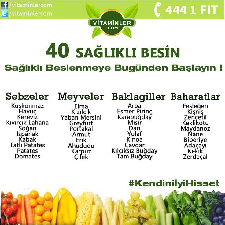 40 sağlıklı besin ! #metabolizma #destekleyici #besin #sebze #meyve #vitamin #beslenme #bağışıklıksistemi #vitamin #balıkyağı #omega3 #sağlık #diyet #health #sağlıklıyaşam #antioksidan #bitkisel #doğa #cvitamini #eklem #eklemağrısı #mineral #sindirim #probiyotik #glukozamin Kendini İyi Hisset.