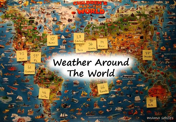 mapping the weather to explore world geography--this would work well with a quick daily visit to weather.com or a similar web site
