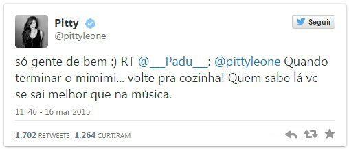 Pitty dá aula de igualdade a seguidor no Twitter após ser provocada
