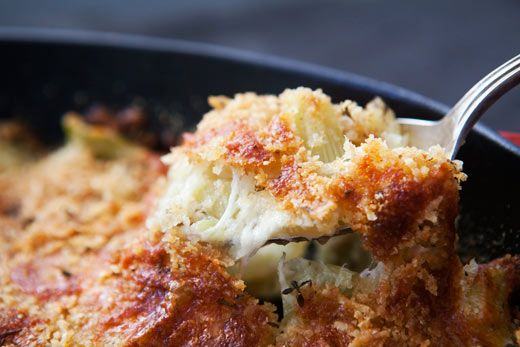 Fennel Gratin ~ Baked fennel with olive oil, mozzarella and parmesan cheeses, bread crumbs and fresh thyme. ~ SimplyRecipes.com