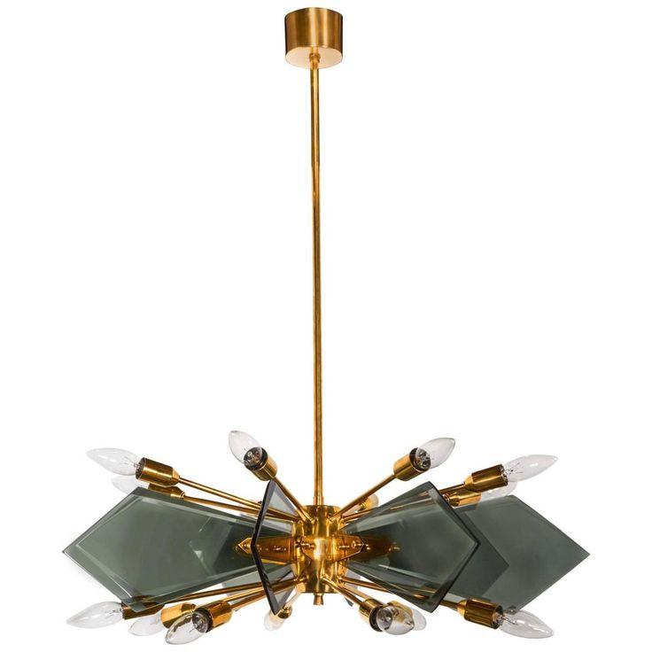 Glass U0026 Brass Chandelier, Italy, Attributed To Fontana Arte, @ DLightUs  (Rearview Modern, NY)