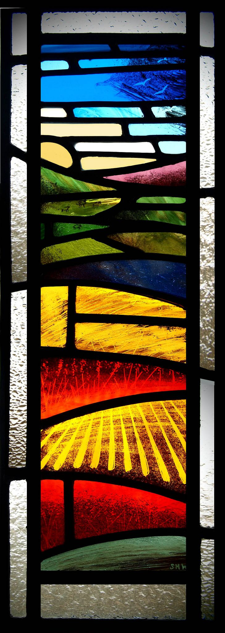 https://flic.kr/p/bqoTZC | stained glass landscape | Door panel for a farmhouse in Biggar, Scotland
