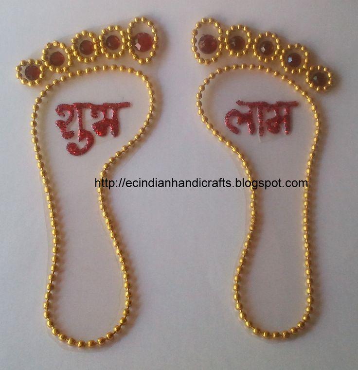 EC Indian Handicrafts' (Customised kundan rangolis): Lakshmi feet ...