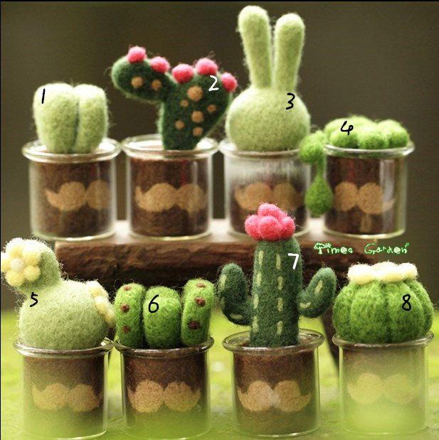 Lana Material suculento plantas Bonsai decoración adornos de fieltro, lana…