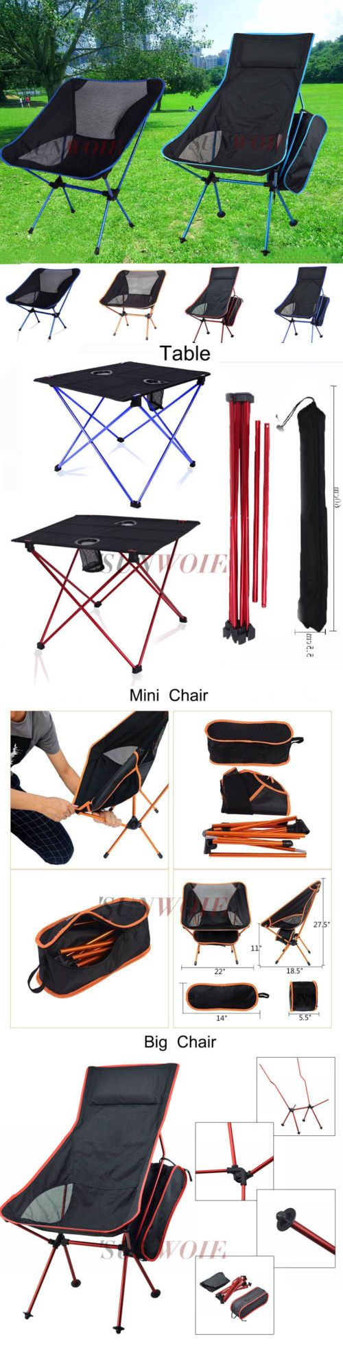 Chairs and Seats 19985: Potable Fishing Table Folding Fishing Chair Mini Chair Outdoor Camping Hiking Us BUY IT NOW ONLY: $41.57
