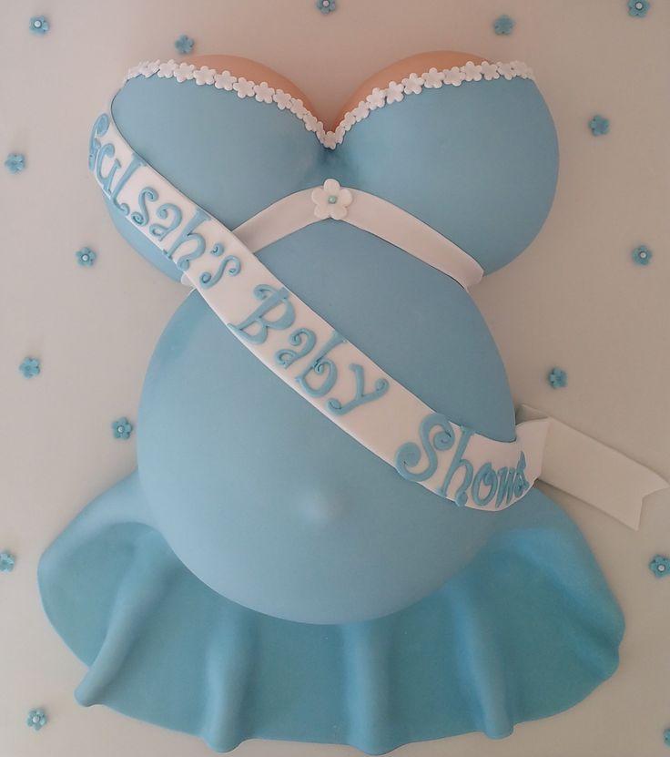 Baby shower cake. Pregnant cake. Baby bump cake. Matching blue sponge inside. Baking Angel