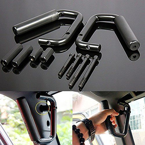 Black Grab Bar Front Grab Handle for Jeep Wrangler JK Sahara Sport Rubicon X & Unlimited 2/4 Door 2007 2008 2009 2010 2011 2012 2013 2014 2015 Pair