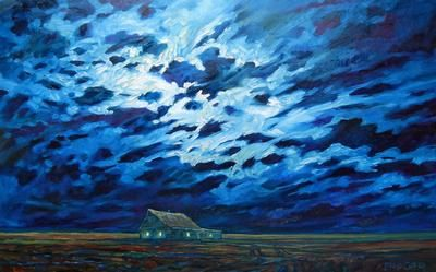 """Steve Coffey - Night Shack and Candle Light 30 x 48"""" oil/canvas 