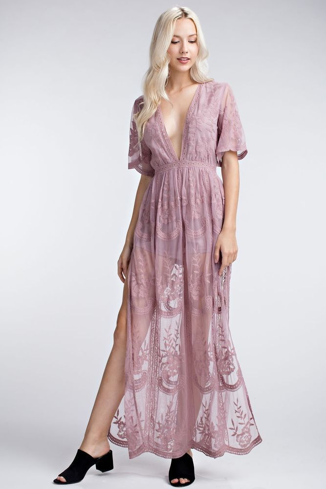 38f94cc98bde Honey Punch Mauve Embroidered Lace Romper Maxi Dress.  HoneyPunch  Maxi   fashion  shopping  adaniasboutique  shoponline  lacedress  shop