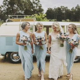 These soft blue bridesmaid dresses are perfect!