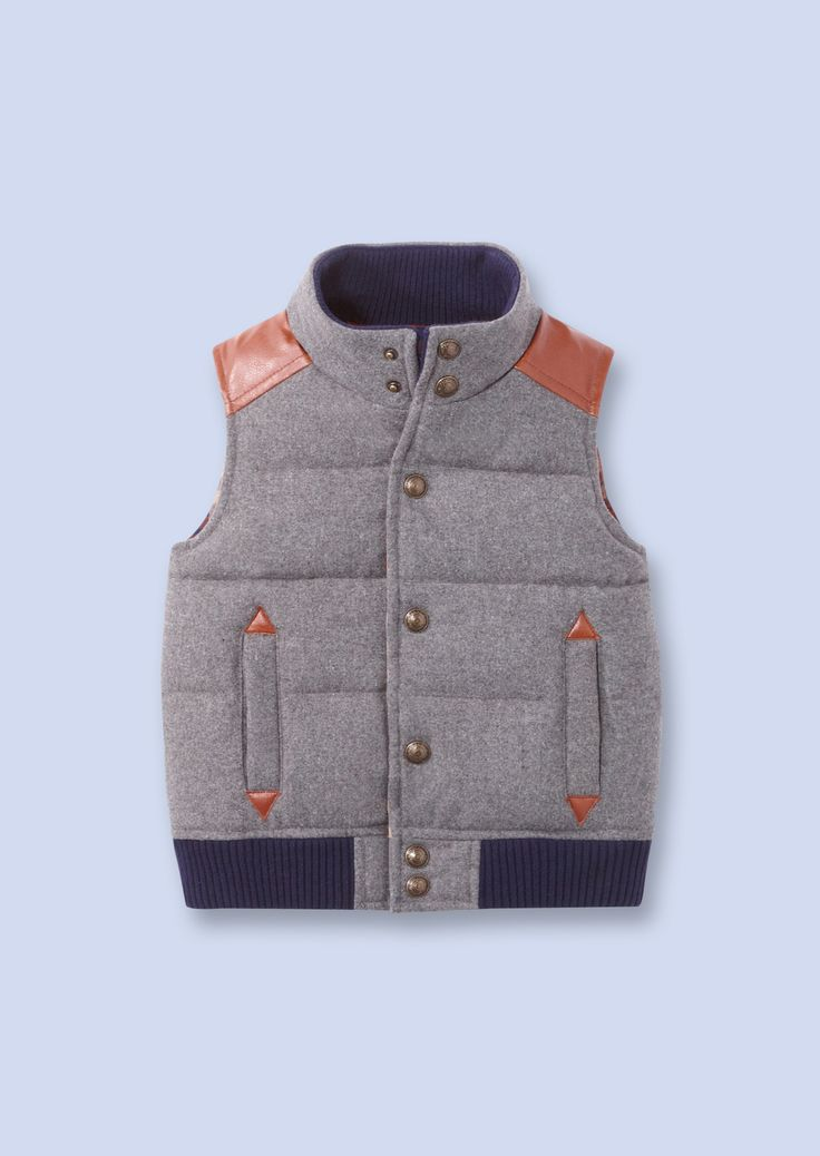 grey flannel puffer vest from French children's clothing lineBoys Puffer Vest, Baby Boys, Childs Puffer Vest, Gray Flannels, French Children, Flannels Puffer, Children Clothing, Boys Clothing, Boys Vest