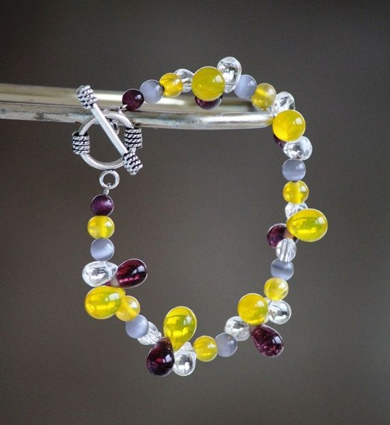 Yellow, purple and grey drop bracelet. https://www.facebook.com/heartbeadsjewellery