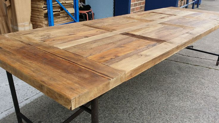 NEW INDUSTRIAL RECYCLED VINTAGE RUSTIC TIMBER TRESTLE DINING TABLE - 2M