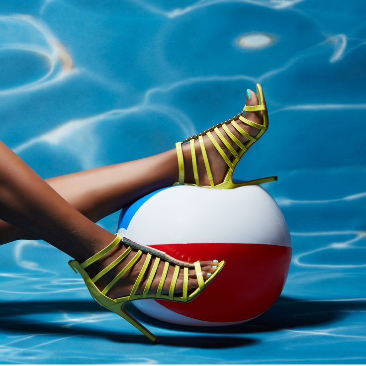 Pool party perfect in ShoeDazzle yellow heels.