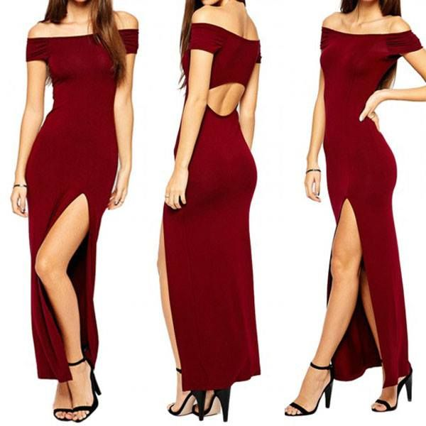 Yay or Nay? Burgundy Off Shoulder Rear Cut Out Maxi Dress with Slit Side