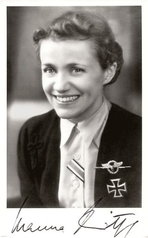 Hanna Reitsch, the world's first woman test pilot, first woman helicopter pilot, only woman to fly the Messerschmitt Me 163 Komet rocket plane, also the only woman to be awarded Germany's Iron Cross First Class.