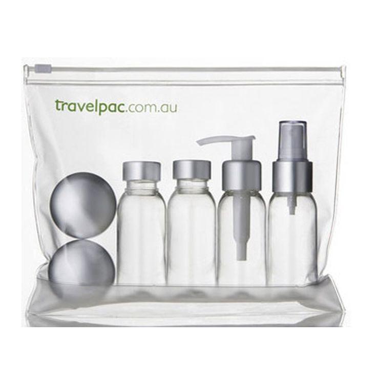 Travelpac Inflight Set : Satin Silver - $24.95 #cleartravelbottles #travelbottles #customapprovedbottles