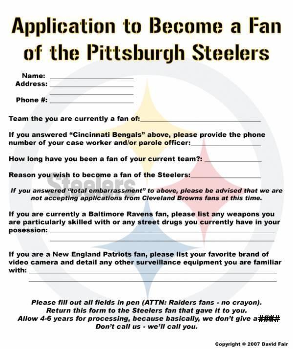 Application to Become a Steeler Fan - Cincinnati Bengals Message Boards - Forums