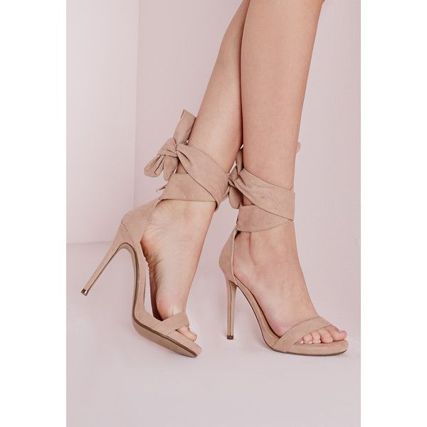 Missguided Ankle Tie Heeled Sandals Nude ($51) ❤ liked on Polyvore featuring shoes, sandals, blush, ankle strap sandals, party sandals, party shoes, ankle strap shoes and high heel shoes