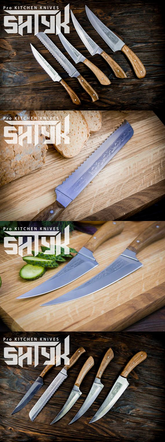 Professional Kitchen Knife Set, Chefs Knife Kitchen Gift, Engraved Knifes, Chef Knife Set, Engraved Cook's Knife, Utility Chef Knifes, 7pcs