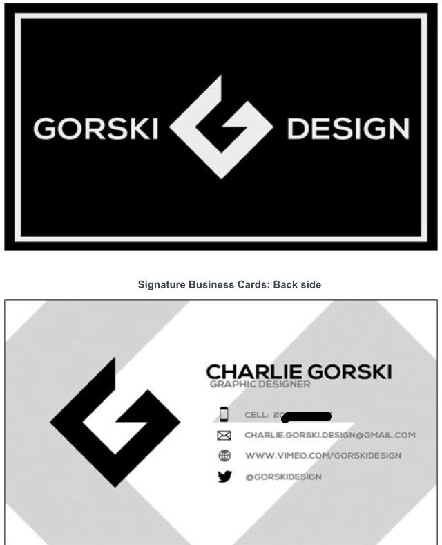 Business Card created for Gorski design. I will be freelancing graphic design for the remainder of the summer and possibly through the school year. Email me if interested