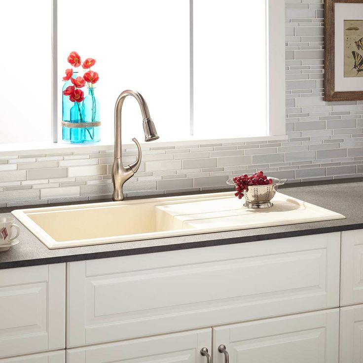 40 manton drop in granite composite sink with drain board beige - Corian Countertops Bauernhaus Waschbecken