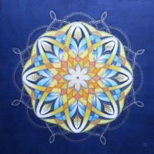 """Mandala painted on silk -  Hedvábné mandaly (malba na hedvábí) """"Modrý Úplněk"""""""