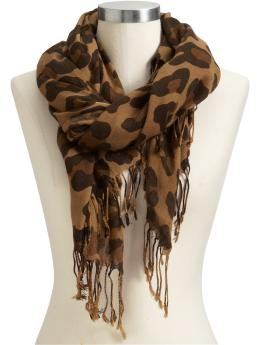 "I have this scarf from Old Navy. Amazing quality for the price, very soft, and very cute. Goes with almost anything (except maybe the leopard print coat and leopard print purse I have...). I <3 that leopard is ""in"" this year."