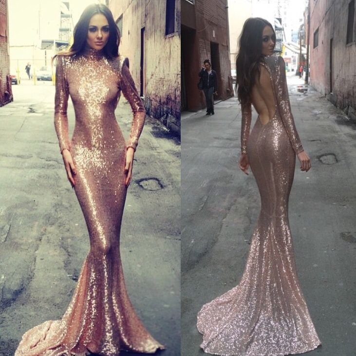 2015 gold Long sleeve party evening cocktail prom Maxi clubwear fishtail dress