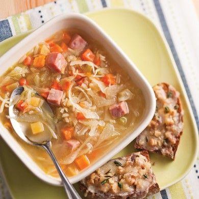 Soupe express au jambon et riz brun