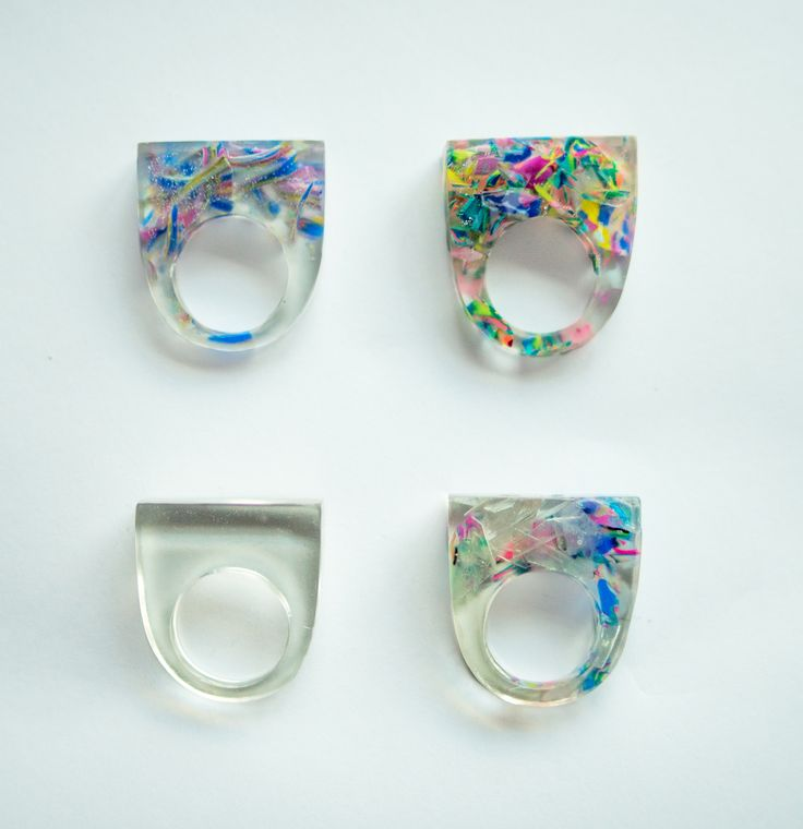 resin and polymer clay rings by Ferencz Borbala