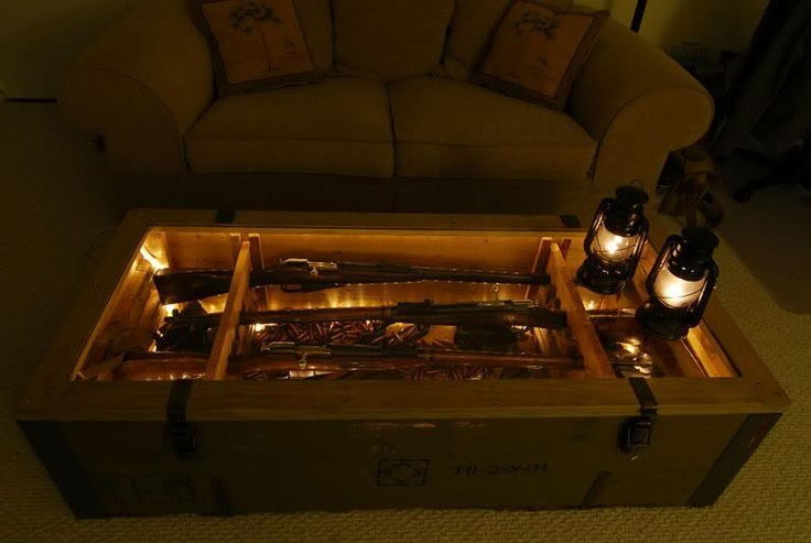 Mosin nagant crate coffee table with a glass top i know for Man cave coffee table ideas