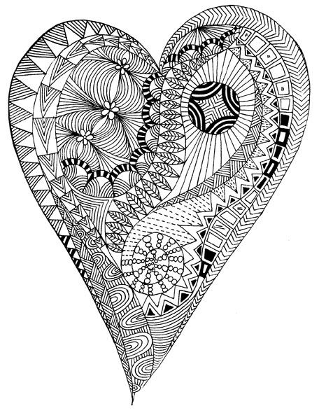 ➳➳➳☮American Hippie Art - Zentangle Coloring Page .. Heart