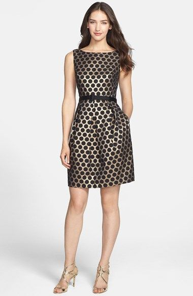 Eliza J Dot Jacquard Fit & Flare Dress (Petite) at Nordstrom.com. Shimmering gold highlights jacquard-woven polka dots gridding a classic party dress. A solid belted waist sets off the plushly pleated tulip-style skirt.