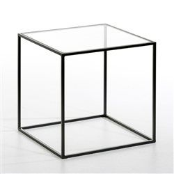 55E Bout de canapé métal laqué, plateau verre transparent ou blanc Romy AM.PM - Bouts de canapé