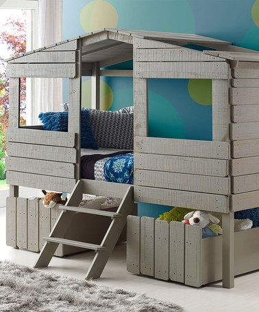 Look at this #zulilyfind! Rustic Gray Tree House Loft Bed & Drawers #zulilyfinds I know this is rediculous, but I would love to have this for my doggies!!!!!