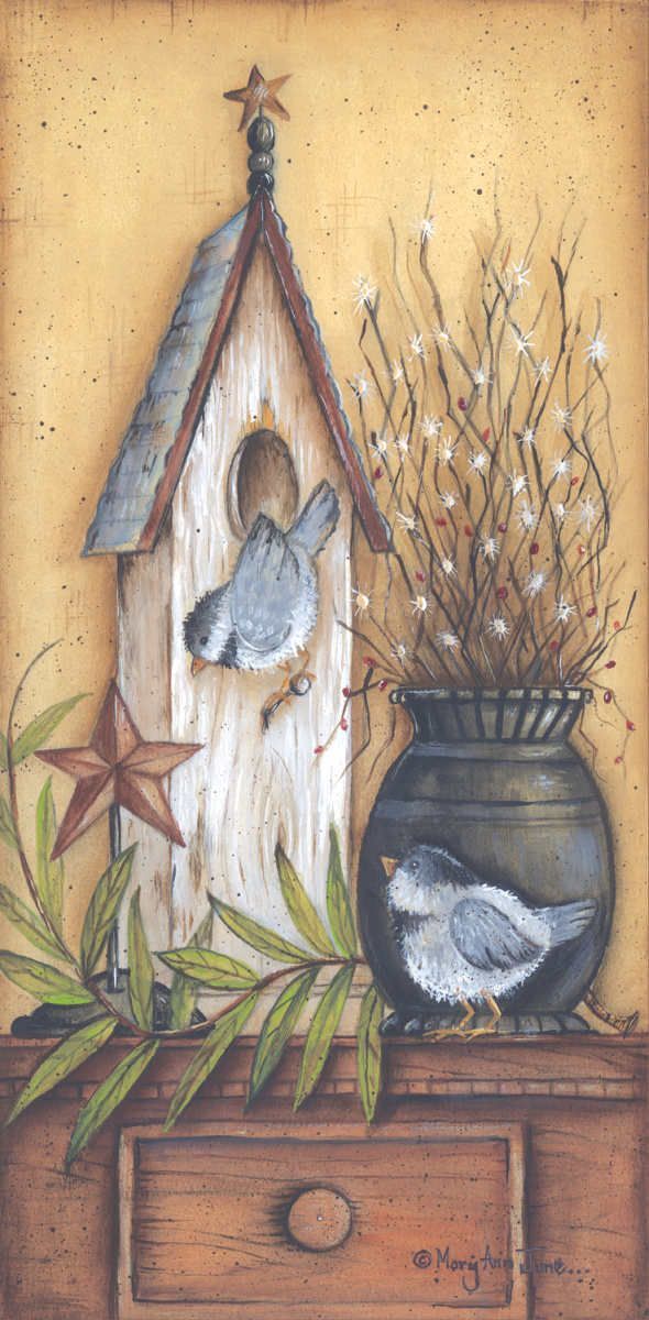 ... Nest for Two by Mary Ann June 8x16 in (framed print)